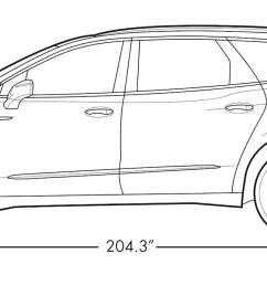 diagram image showing the height and length of the 2019 buick enclave mid size suv [ 1613 x 681 Pixel ]