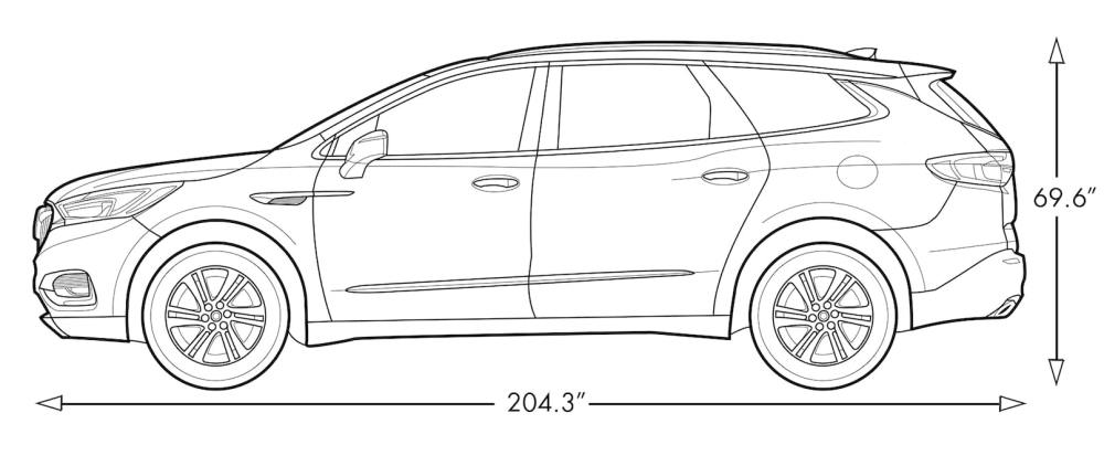 medium resolution of diagram image showing the height and length of the 2019 buick enclave mid size suv