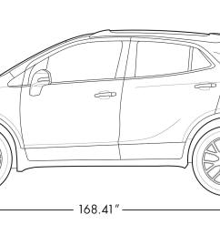 diagram image showing the height and length of the 2019 buick encore small luxury suv  [ 1613 x 753 Pixel ]