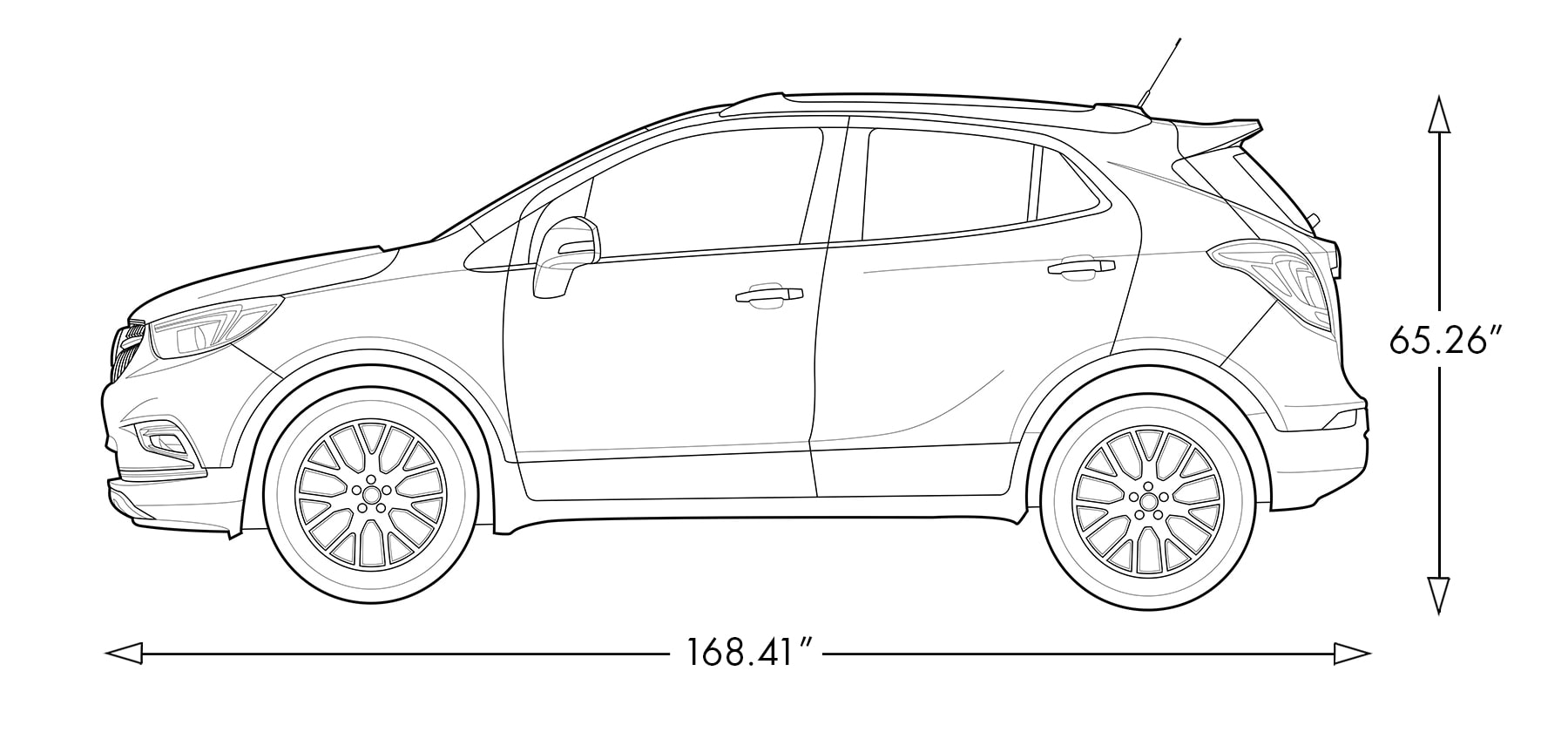 hight resolution of diagram image showing the height and length of the 2019 buick encore small luxury suv