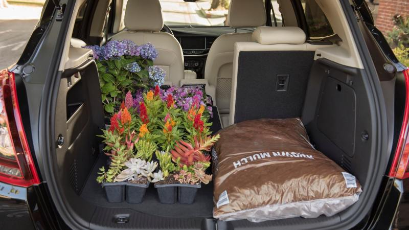 2020 Buick Encore Small Luxury SUV: cargo space with garden supplies