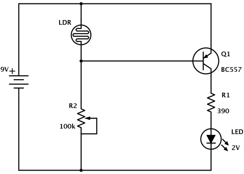 small resolution of ldr circuit diagram with pnp transistor dark detector