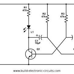 How To Make A Circuit Diagram Ceiling Light Wiring Uk Led Flasher All Data Blinking With Schematics And Explanation Signal Astable Multivibrator