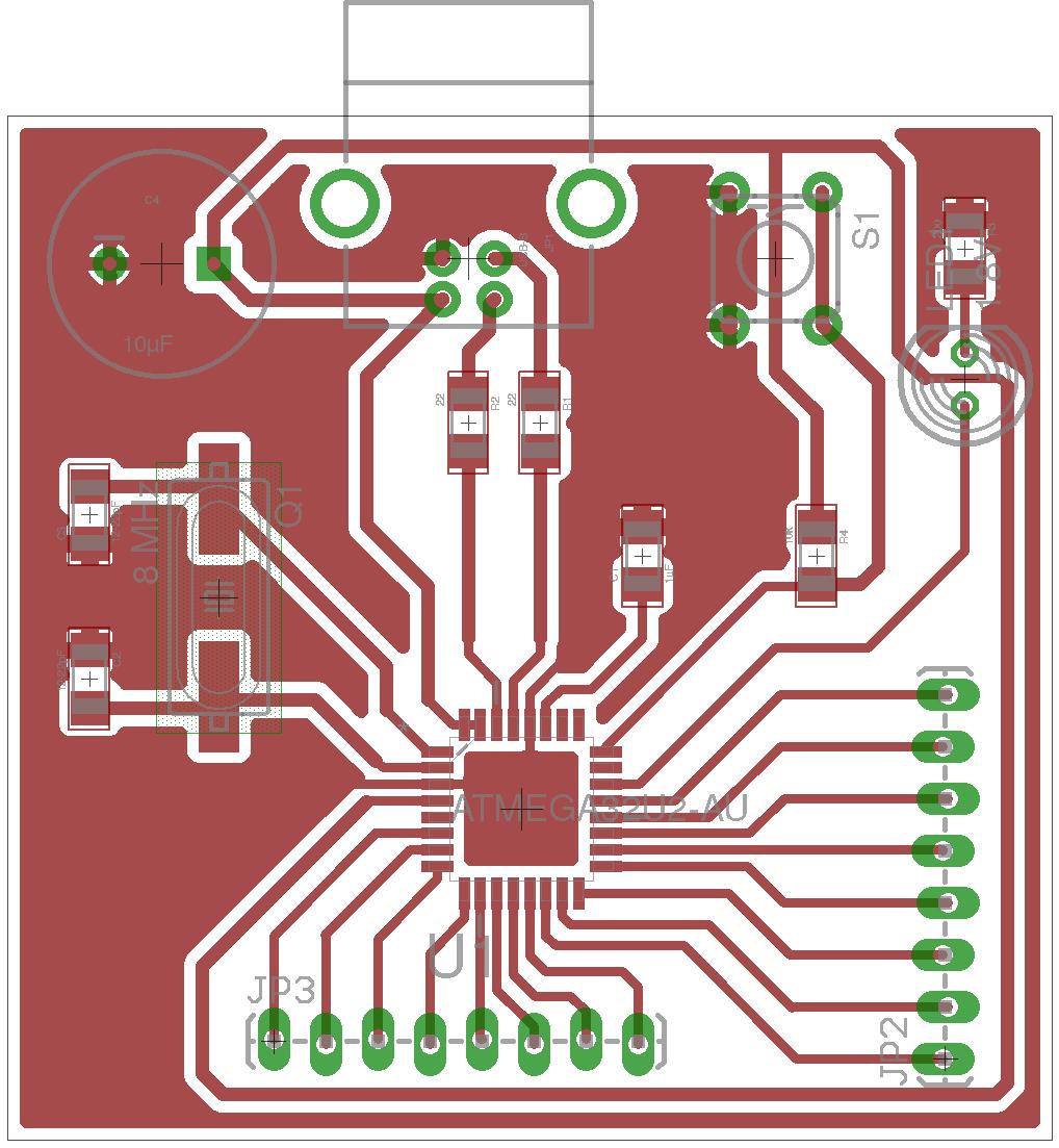 Circuit board layout for ATmega32U2 circuit tutorial