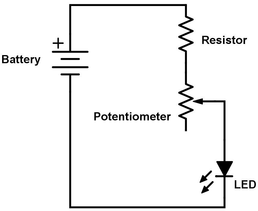 wire a potentiometer as a variable resistor