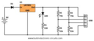 PortableUSBChargercircuitdiagramvalues  Build Electronic Circuits