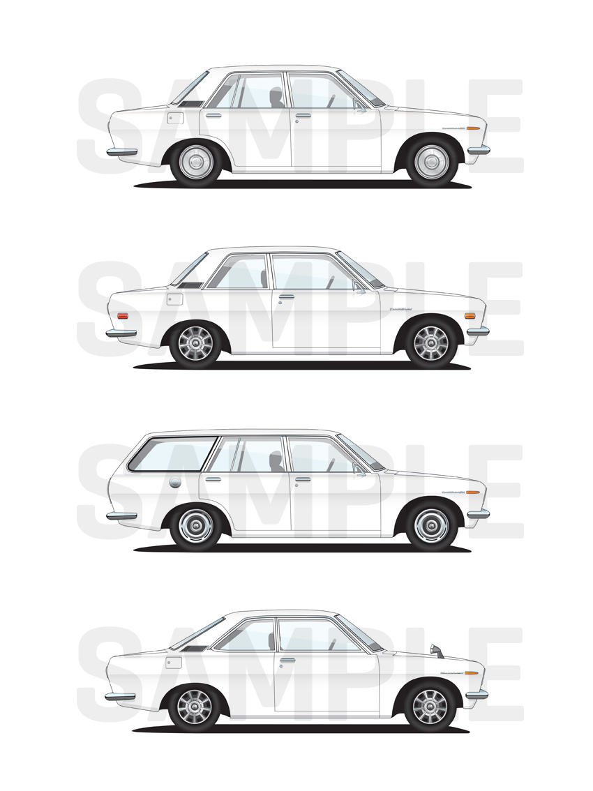 FS: Datsun 510/1600 illustration prints $25AUD each