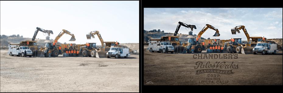 time lapse group construction portrait