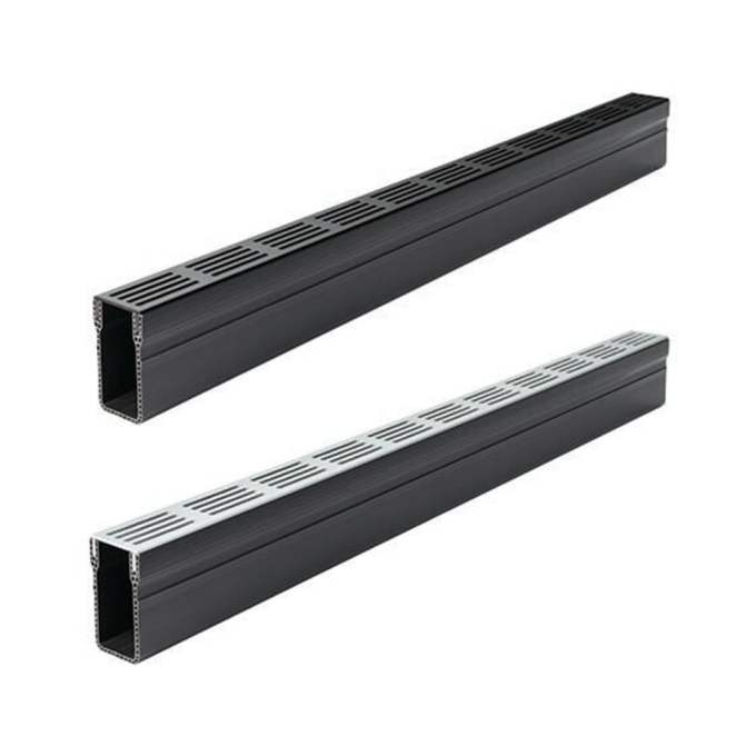 Aco 1000mm Plastic Slimline Threshold Channel Drain Silver Or Black Grate A15 Building Supplies From Build Plumb Materials Online Uk