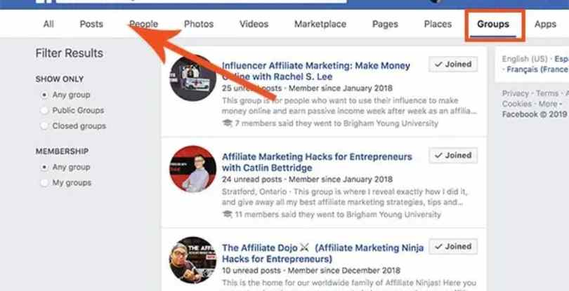 affiliate marketing facebook groups