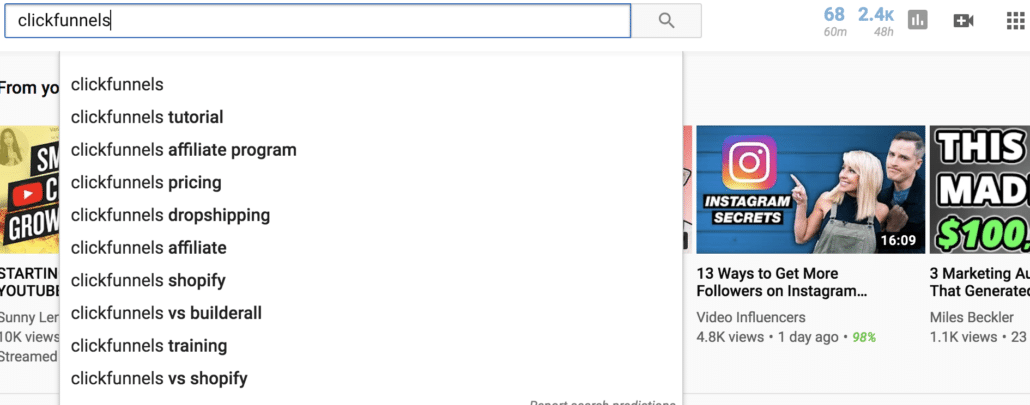 Finding Keywords with YouTube
