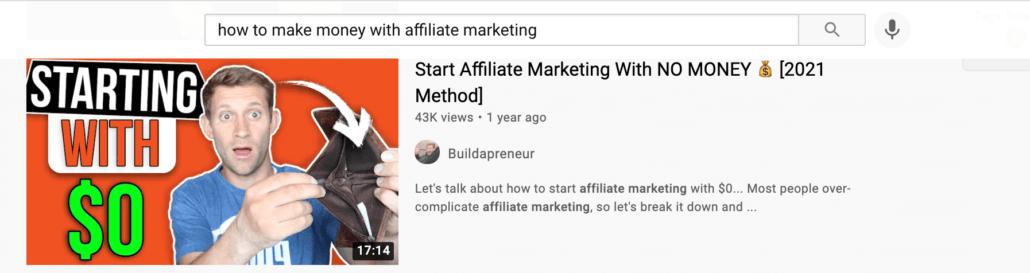 Affiliate marketing example