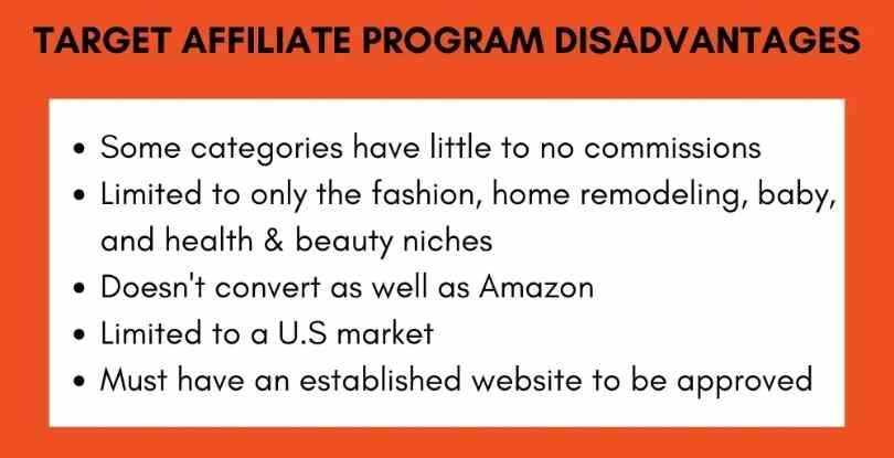 Target affiliate marketing program disadvantages