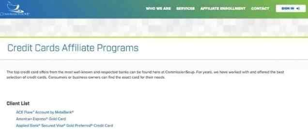 Credit card affiliate marketing - commission soup