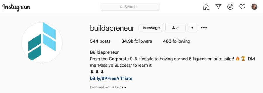 affiliate marketing instagram link in bio