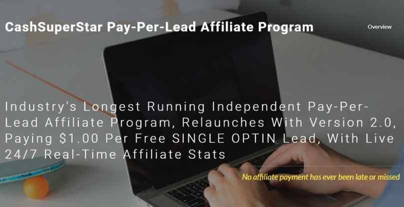 paid per lead affiliate program - cashsuperstar.com