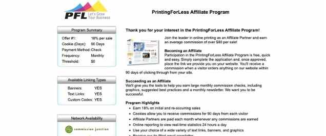 Printing for Less Affiliate Program