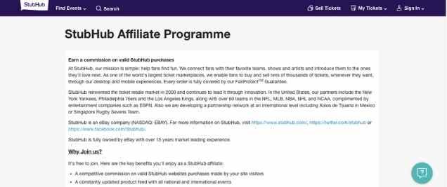 StubHub TicketAffiliate Program