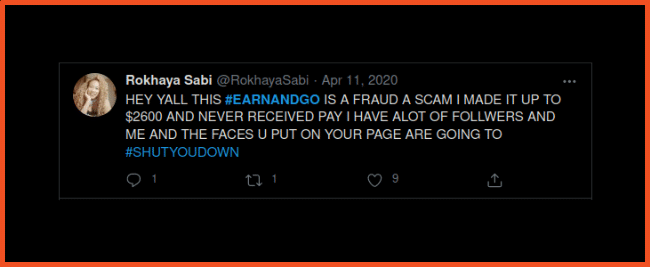 Earn and Go tweet Scam