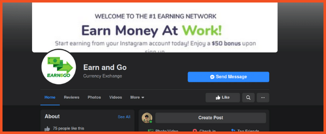 Earn and Go Facebook