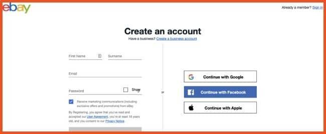 Register for an eBay Account