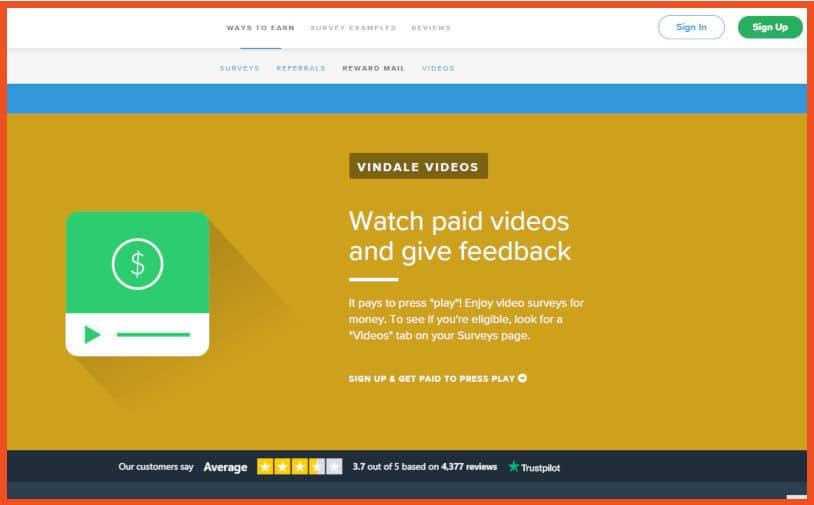 Make money watching videos - Vindale Research