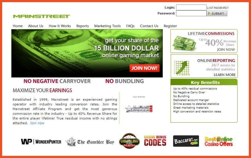 Mainstreet Online Casino Affiliate Program