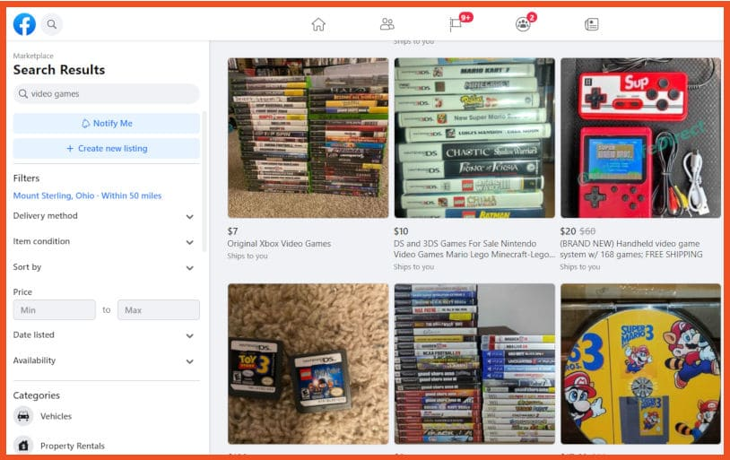 Sell video games online - Facebook Marketplace