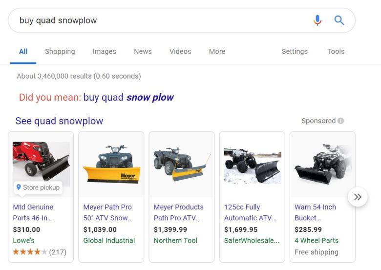 esempio dropshipping biglietto di nicchia quad spazzaneve alto da ricerca di google