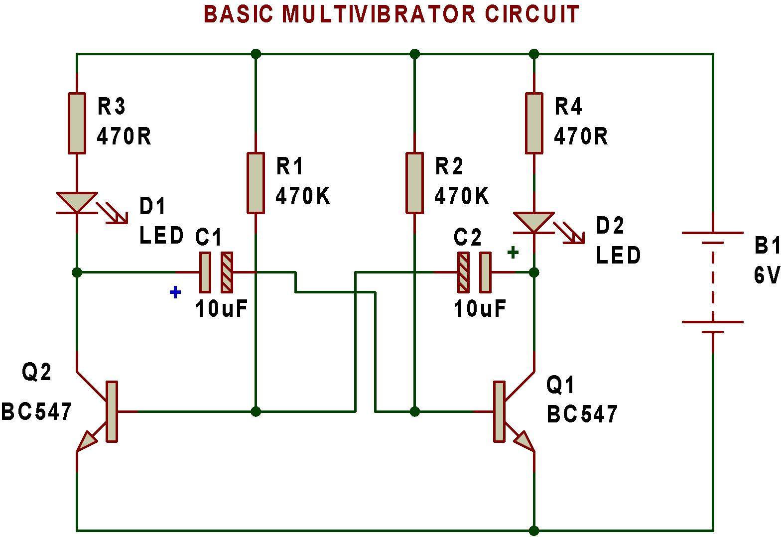 led strobe light circuit diagram toilet flange multivibrator   buildcircuit - electronics