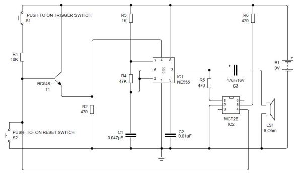 Latch-up circuit using 555 and opto-coupler – BuildCircuit COM