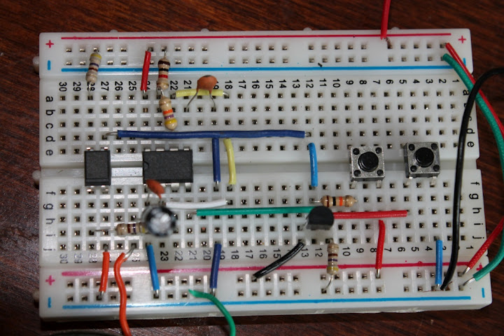 Breadboard Showing A 555 Timer Circuit Layout