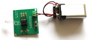 Use a 9V battery to operate the kit