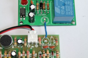 Step 1- connect the cathode pin of clap switch kit to the anode pin of relay module