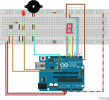 Arduino Project 30- Seven Segment Display Countdown with Buzzer and LED