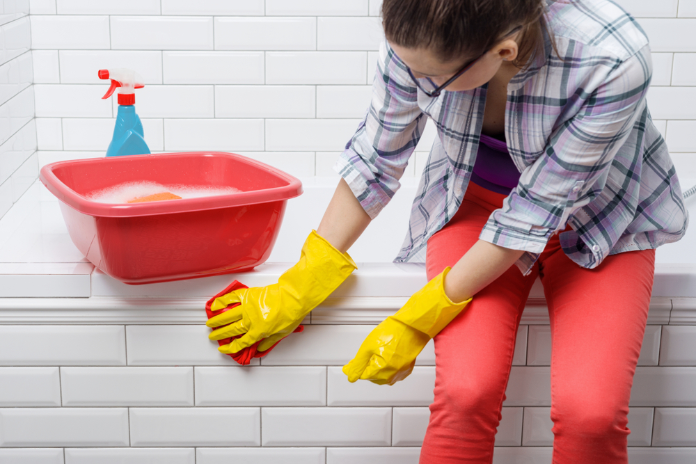 remove dried grout from porcelain tile