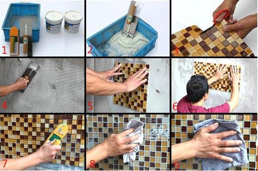 Cara Pasang Mozaik Kitchen set