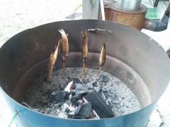 釣り上げた岩魚を焼き枯らす