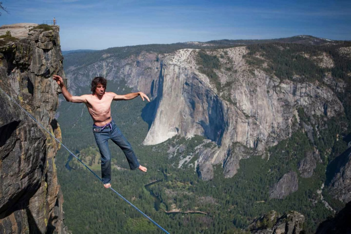 Dean high-lining at Taft Point in Yosemite.