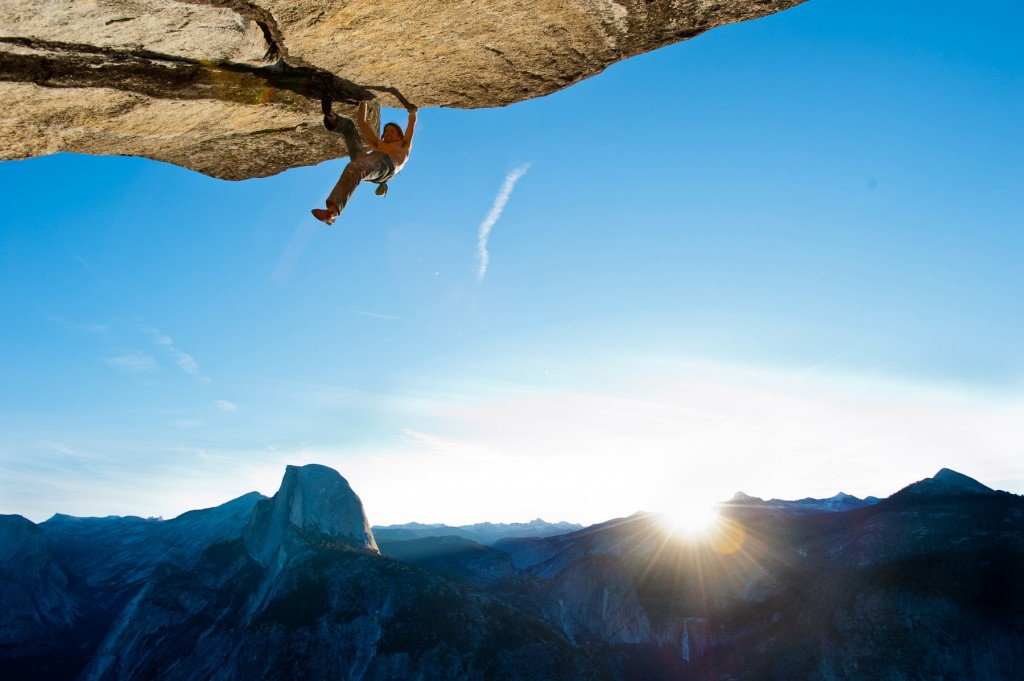 Dean free soloing A Dog's Roof (5.12b), Yosemite