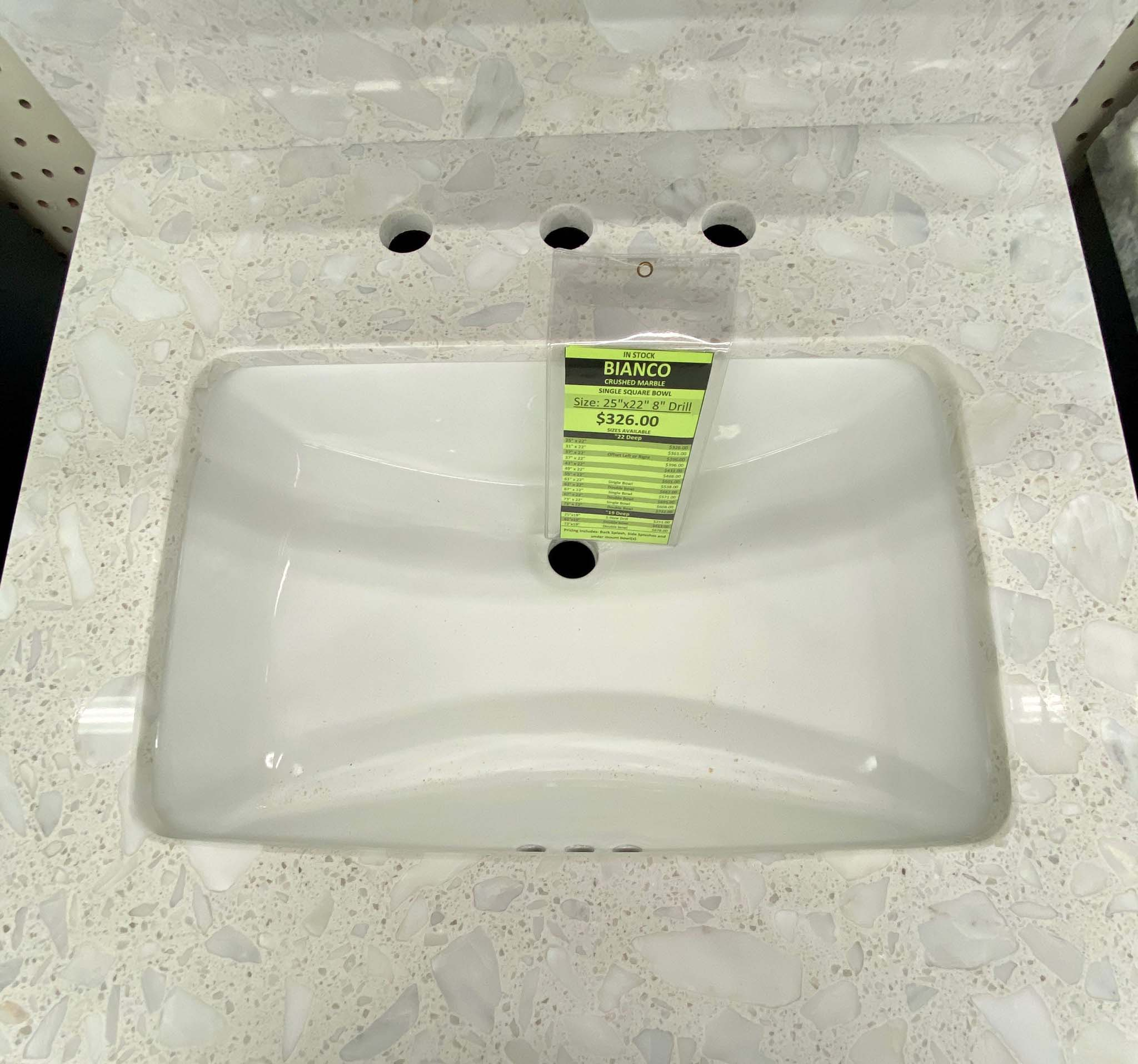 bianco square crushed marble vanity top