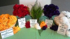 Table with flowers for intergenerational
