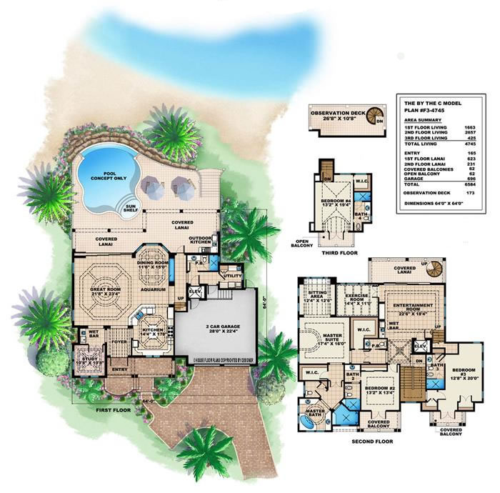 Caribbean House Design Style 4 Bedrooms 5 Baths Luxury Villa