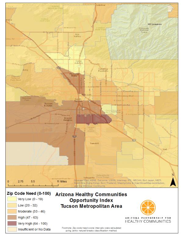 Map Area Tucson Code Arizona