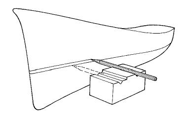 Drawing waterline on a tug boat model