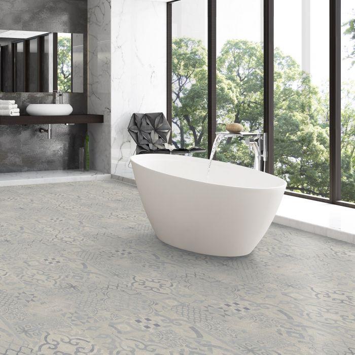 faus laminate flooring tile effect 8mm retro blue