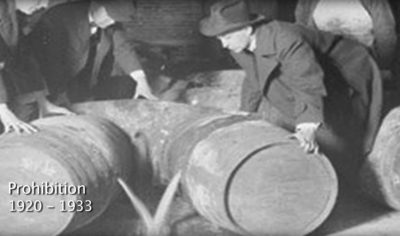 Prohibition agents emptying liquor casks