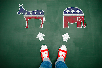 Democrat donkey and Republican elephant facing decisionmaker