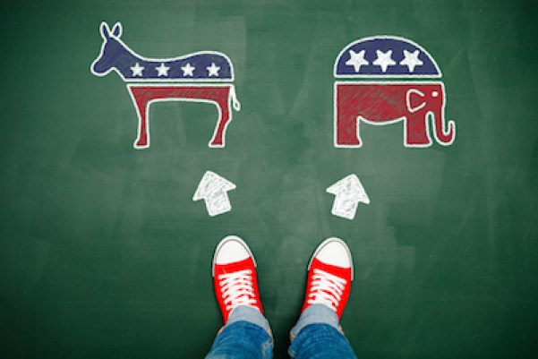 Democrat donkey and Republican elephant facing decisionmaker