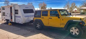Mary Shafer's Jeep and travel trailer